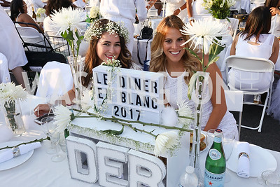 Angie Norwich, Katie Gregg. Photo by Tony Powell. 2017 Diner en Blanc. Pennsylvania Avenue. August 26, 2017