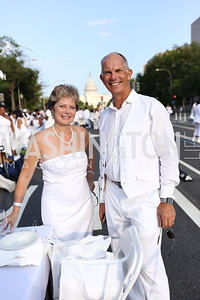 Nick and Louise Holland. Photo by Tony Powell. 2017 Diner en Blanc. Pennsylvania Avenue. August 26, 2017