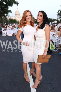 Micaela Mazzarella, Catherine Trifiletti. Photo by Tony Powell. 2017 Diner en Blanc. Pennsylvania Avenue. August 26, 2017
