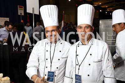 Nepal Chef Lok Towari, Chef Chetnath Bhandari. Photo by Tony Powell. 2017 Embassy Chefs Challenge. Reagan Building. May 24, 2017