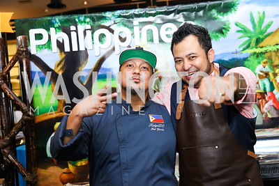 Philippines Chef Red Garcia, Philippines Bartender Jo-Jo Valenzuela. Photo by Tony Powell. 2017 Embassy Chefs Challenge. Reagan Building. May 24, 2017