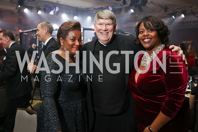Beverly Perry, Monsignor John Enzler, Kaya Henderson. Photo by Tony Powell. 2017 Fight Night. Washington Hilton. November 2, 2017