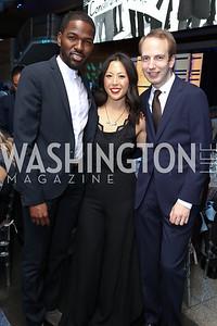 Devron Brown, Sharon Yang, Alex Warofka. Photo by Tony Powell. 2017 Free Expression Awards. Newseum. April 18, 2017