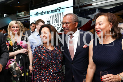 Toni Bush, Dwight Bush, Martina Bradford. Photo by Tony Powell. 2017 Free Expression Awards. Newseum. April 18, 2017