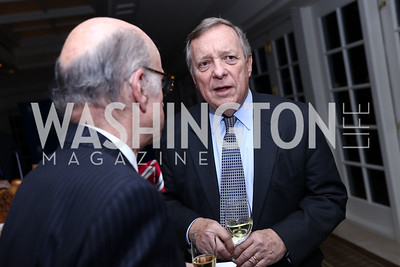 Finlay Lewis, Rep. Dick Durbin. Photo by Tony Powell. 2017 Gershwin Prize Dinner. Hay Adams. November 14, 2017