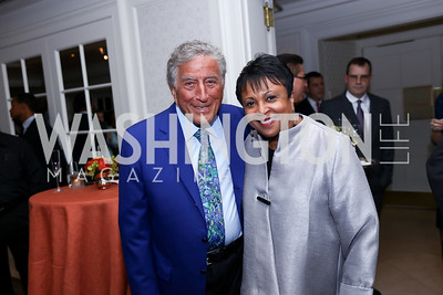 Tony Bennett and Librarian Carla Hayden. Photo by Tony Powell. 2017 Gershwin Prize Dinner. Hay Adams. November 14, 2017