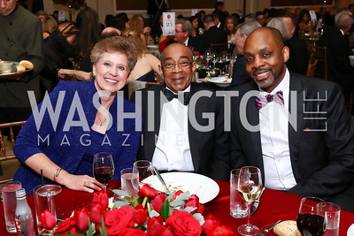 Estelle Ballington, Laird Lott, Dr. Richard Benson. Photo by Tony Powell. 2017 Heart Ball. Mandarin Oriental. February 25, 2017