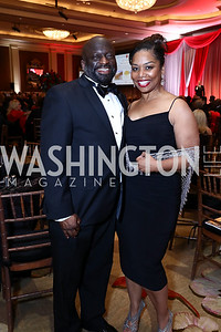 Jeff Ballou, Stacy Burnett. Photo by Tony Powell. 2017 Heart Ball. Mandarin Oriental. February 25, 2017