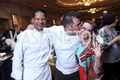 Ritz Carlton Executive Chef Yves Samake, Masseria Owner and Executive Chef Nicholas Stefanelli, Annie Boutin King. Photo by Tony Powell. 2017 Heart's Delight. Ritz Carlton. May 13, 2017