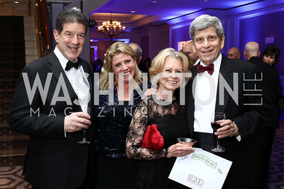 Scott Foreman, Leslie Sandoz, Diana and Steve Goldberg. Photo by Tony Powell. 2017 Heroes Curing Childhood Cancer Gala. Ritz Carlton. February 25, 2017