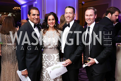 Roy and Manisha Kapani, Mark Green and Michael Rankin. Photo by Tony Powell. 2017 Heroes Curing Childhood Cancer Gala. Ritz Carlton. February 25, 2017