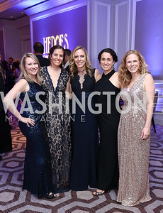 Jen Carrier, Ashley O'Reilly, Emily Gottlieb, Katie Renshaw, Casey Crimmins. Photo by Tony Powell. 2017 Heroes Curing Childhood Cancer Gala. Ritz Carlton. February 25, 2017