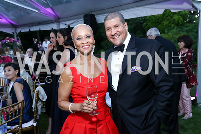Lucia Riddle, Dale Mott. Photo by Tony Powell. 2017 Hillwood Gala. June 6, 2017