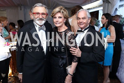 Joe Perta, Juleanna and Richard May. Photo by Tony Powell. 2017 Hillwood Gala. June 6, 2017