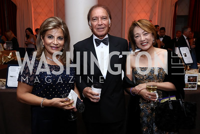 "Annie Totah, Leo Sahakian, Sachiko Kuno. Photo by Tony Powell. 2017 Joan Hisaoka ""Make a Difference"" Gala. Omni Shoreham. September 16, 2017"