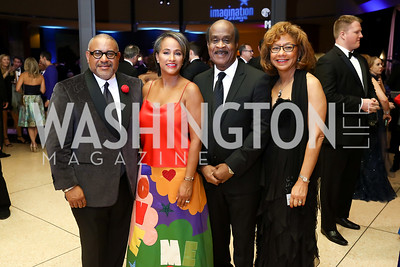 Scott Bolden and Erika Martin Bolden, Montgomery County Executive Ike Leggett and Catherine Leggett. Photo by Tony Powell. 2017 Imagination Stage Gala. Italian Embassy. December 8, 2017