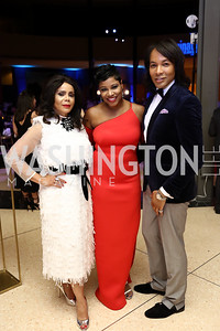 Marcia Dyson, Monique Pressley, Paul Wharton. Photo by Tony Powell. 2017 Imagination Stage Gala. Italian Embassy. December 8, 2017
