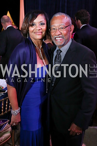 DC Board President Kim Alfonso and Pedro Alfonso. Photo by Tony Powell. 2017 Imagination Stage Gala. Italian Embassy. December 8, 2017