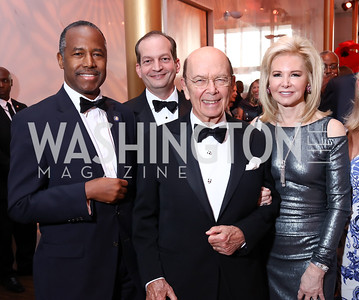 HUD Sec. Ben Carson, Labor Sec. Alexander Acosta, Commerce Sec. Wilbur Ross and Hilary Ross. Photo by Tony Powell. 2017 Kennedy Center Spring Gala. May 8, 2017