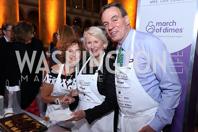 Linda Wolf, Franco Roberts, Sen. Mark Warner. Photo by Tony Powell. 2017 March of Dimes Gourmet Gala. Building Museum. May 23, 2017