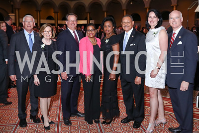 Rep. Roger Wicker and Gayle Wicker, Sen. Gary Peters, MOD President Stacey Stewart, Vivian and Rep. Sanford Bishop, Caroline and Rep. Robert Aderholt. Photo by Tony Powell. 2017 March of Dimes Gourmet Gala. Building Museum. May 23, 2017