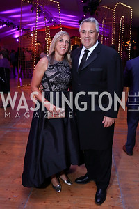 Melissa Babbage and Australia Amb. Joe Hockey. Photo by Tony Powell. 2017 Mark Twain Prize. Kennedy Center. October 22, 2017