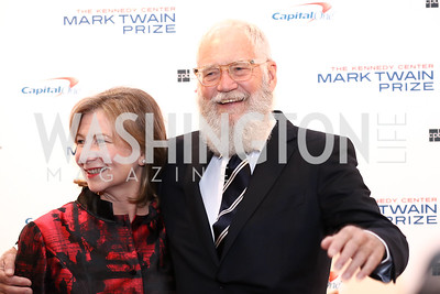 Regina Lasko and David Letterman. Photo by Tony Powell. 2017 Mark Twain Prize. Kennedy Center. October 22, 2017