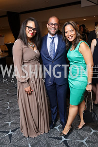 "Khalilah McCants, Brett Greene and Tiffani Turner Greene. Photo by Tony Powell. 2017 Mary's Center ""Noche Tropical.""  October 6, 2017"