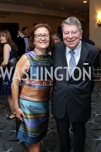 """CEO Maria Gomez, Calvin Cafritz. Photo by Tony Powell. 2017 Mary's Center """"Noche Tropical.""""  October 6, 2017"""
