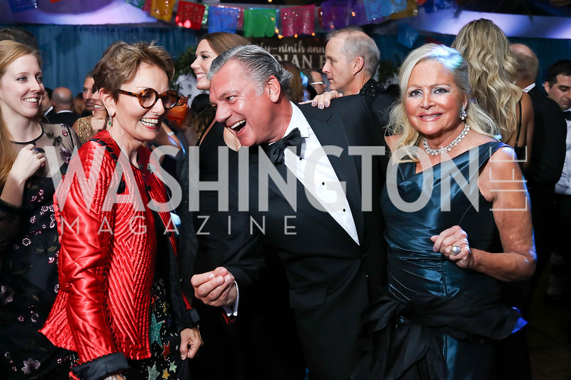 Toni Gore, Bruce Neal, Deborah Sigmund. Photo by Tony Powell. 2017 Meridian Ball. October 20, 2017