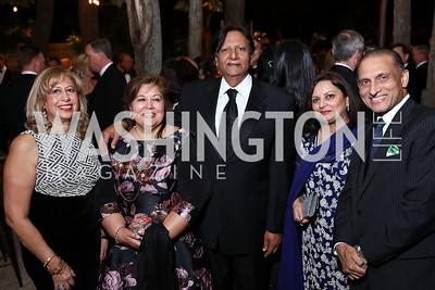 Edie Gutierrez, Shaista and Ray Mahmood, Najia Ahmad and Pakistan Amb. Aizaz Chaudhry. Photo by Tony Powell. 2017 Meridian Ball. October 20, 2017