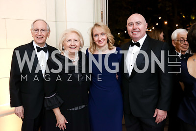 Phil and Melanne Verveer, Alexa Verveer and Jeff Houle. Photo by Tony Powell. 2017 Meridian Ball. October 20, 2017