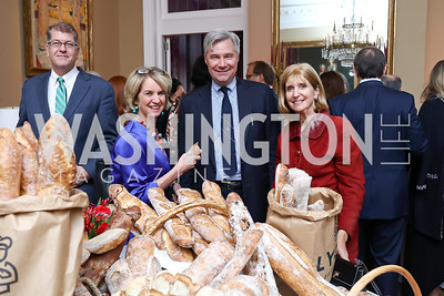 Steve Clemons, Kathleen Kennedy Townsend, Sen. Sheldon Whitehouse, Paula Dobriansky. Photo by Tony Powell. 2017 Michelin Guide. Residence of France. October 17, 2017