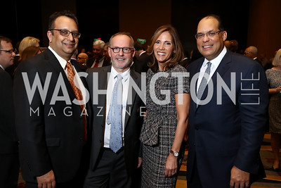 Arvind Manocha and Gideon Malone, Gala Co-Chairs Hillary and Tom Baltimore. Photo by Tony Powell. 2017 N Street Village Gala. Marriott Marquis. March 14, 2017