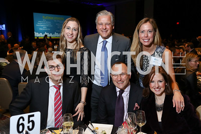 Steven and Sharon Cady, Chris Putala, Ethan Drath, Allison Putala, Lindsey Drath. Photo by Tony Powell. 2017 N Street Village Gala. Marriott Marquis. March 14, 2017