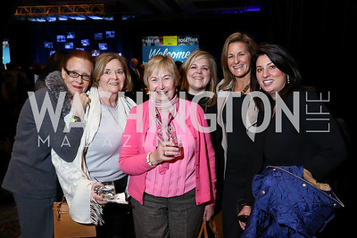 Sam DePoy, Noreen Rubino, Kitty Tiernen, Sara Conrad, Shelley Rubino, Valerie Nelson. Photo by Tony Powell. 2017 N Street Village Gala. Marriott Marquis. March 14, 2017