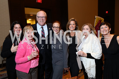 Valerie Nelson, Kitty Tiernen, Rep. Joe Crowley, Sam DePoy, Shelley Rubino, Noreen Rubino, Kasey Crowley. Photo by Tony Powell. 2017 N Street Village Gala. Marriott Marquis. March 14, 2017