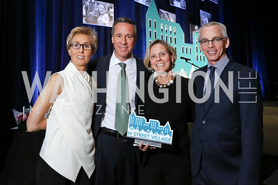 Schroeder Stribling, Arne Sorenson, Ruth Sorenson, Peter Shields. Photo by Tony Powell. 2017 N Street Village Gala. Marriott Marquis. March 14, 2017