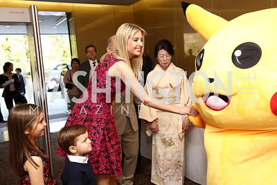 Arabella Kushner, Joseph Kushner, Ivanka Trump, Nobuko Sasae, Pikachu. Photo by Tony Powell. 2017 National Cherry Blossom Festival. Residence of Japan. April 4, 2017