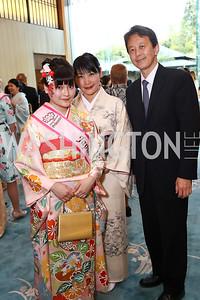 Tamako Okano, Yoshino Okano, Masataka Okano. Photo by Tony Powell. 2017 National Cherry Blossom Festival. Residence of Japan. April 4, 2017