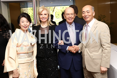 Nobuko Sasae, Hilary Ross and Sec. of Commerce Wilbur Ross, Japan Amb. Kenichiro Sasae. Photo by Tony Powell. 2017 National Cherry Blossom Festival. Residence of Japan. April 4, 2017