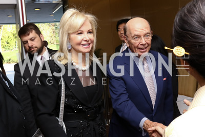 Hilary Ross and Sec. of Commerce Wilbur Ross. Photo by Tony Powell. 2017 National Cherry Blossom Festival. Residence of Japan. April 4, 2017