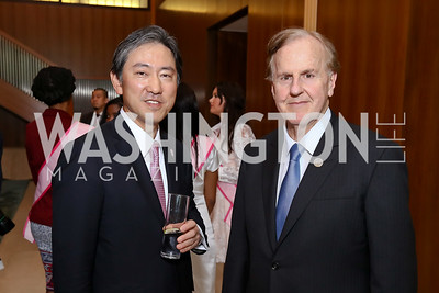 Oike Atsuyuki, Rep. Robert Pittenger. Photo by Tony Powell. 2017 National Cherry Blossom Festival. Residence of Japan. April 4, 2017
