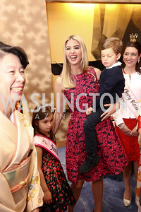 Arabella Kushner, Ivanka Trump, Joseph Kushner. Photo by Tony Powell. 2017 National Cherry Blossom Festival. Residence of Japan. April 4, 2017