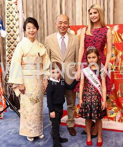 Nobuko Sasae, Joseph Kushner, Japan Amb. Kenichiro Sasae, Ivanka Trump, Arabella Kushner. Photo by Tony Powell. 2017 National Cherry Blossom Festival. Residence of Japan. April 4, 2017
