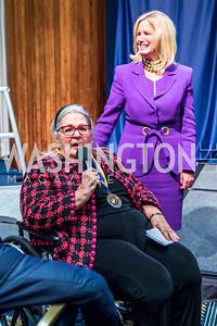 Esther Coopersmith, Susan Blumenthal.  Photo by Alfredo Flores.  2017 National Dialogue Awards. National Press Club. November 16, 2017.