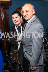 Judith Terra, Mark Farr.  Photo by Alfredo Flores.  2017 National Dialogue Awards. National Press Club. November 16, 2017.