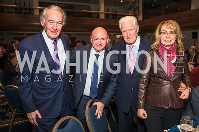 Senator Ed  Markey , Mark Kelly, Gabrielle Giffords, Jim Moran. Photo by Alfredo Flores.  2017 National Dialogue Awards. National Press Club. November 16, 2017.