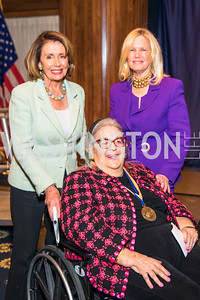 Congresswoman Nancy Pelosi, Esther Coopersmith, Susan Blumenthal.  Photo by Alfredo Flores.  2017 National Dialogue Awards. National Press Club. November 16, 2017.