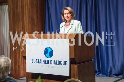 Congresswoman Nancy Pelosi, .  Photo by Alfredo Flores.  2017 National Dialogue Awards. National Press Club. November 16, 2017.